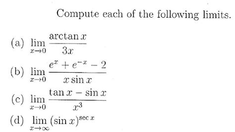 Solved: Compute Each Of The Following Limits