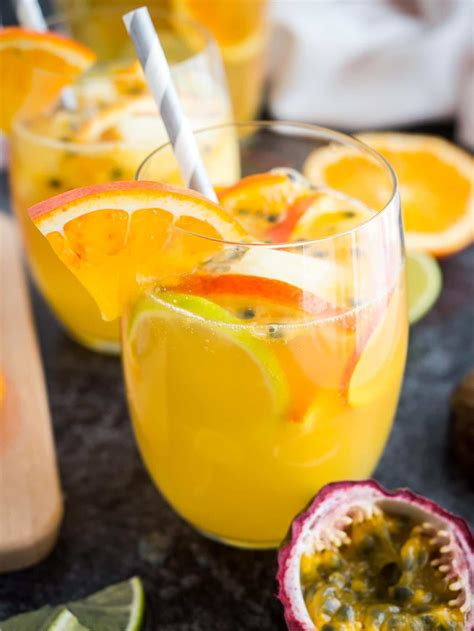 White Wine Sangria Recipe with Tropical Fruits | Plated