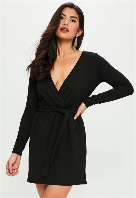 Missguided Synthetic Black Stretch Long Sleeve Plunge Wrap