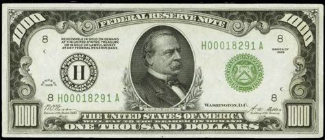 $1000 Bill , Grover Cleveland , printed 1861-1946 , they