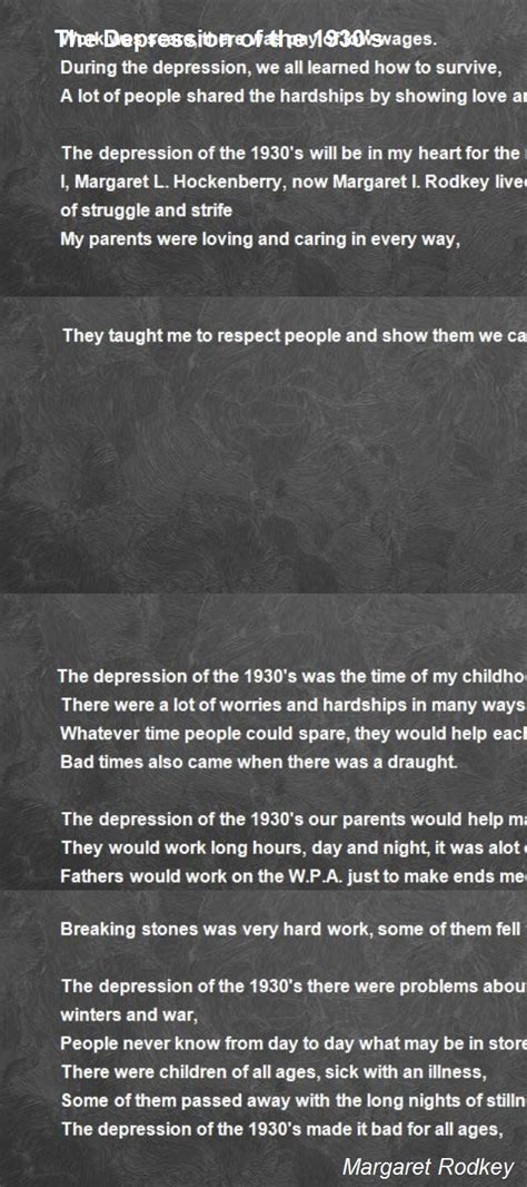 The Depression Of The 1930's Poem by Margaret Rodkey