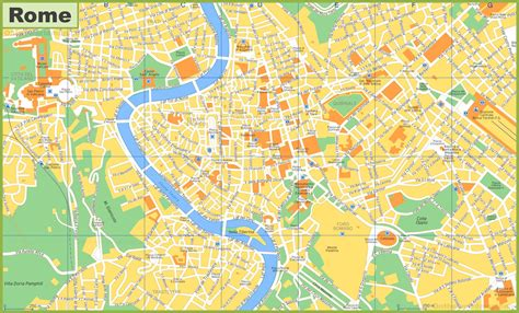Tourist map of Rome with sightseeings