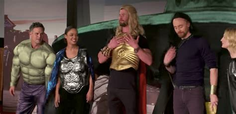 "VIDEO: ""Thor: Ragnarok"" cast performs in ""4D"" for The Late"