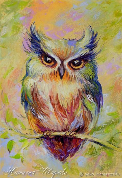 "Pretty colorful owl painting, ""big-Eyed Fluffy"" oil on"