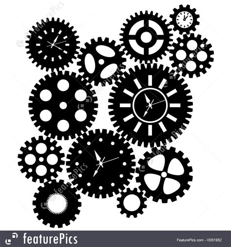 Time Clock Gears Clipart Illustration