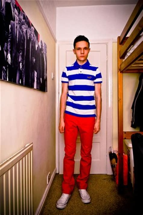 Men's Striped Hollister Polo Shirt Tops, Red H&M Pants