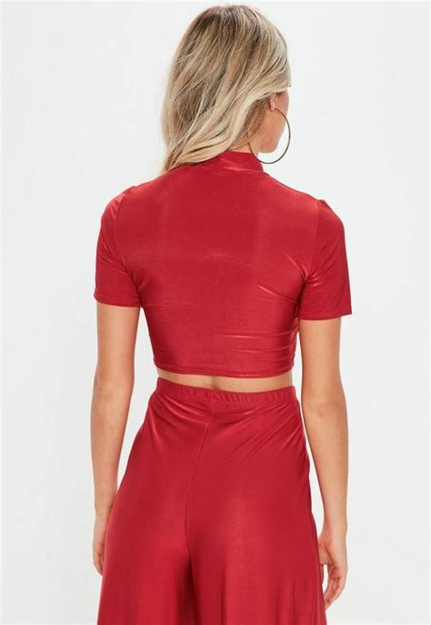 Red Short Sleeve Turtle Neck Crop Top (Co-ord)   Missguided