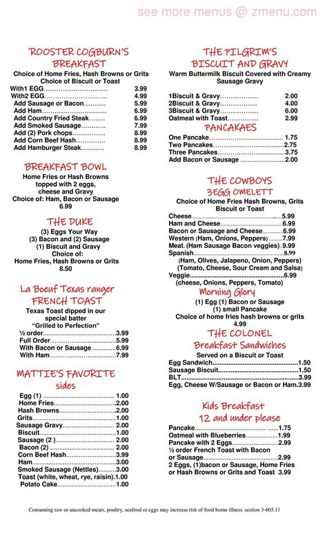 Online Menu of True Grits Restaurant, Interlachen, Florida