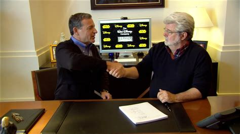 Disney Lucasfilm purchase, George Lucas and Bob Iger sign
