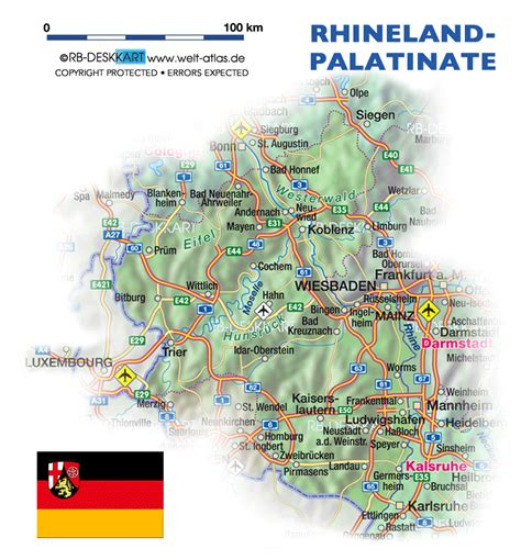 Map of Rhineland-Palatinate (State / Section in Germany